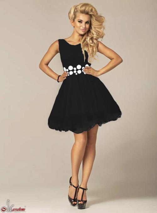 ed679d7dba Rozkloszowana sukienka czarna z pasem w białe kółka 005 1319-1 ...