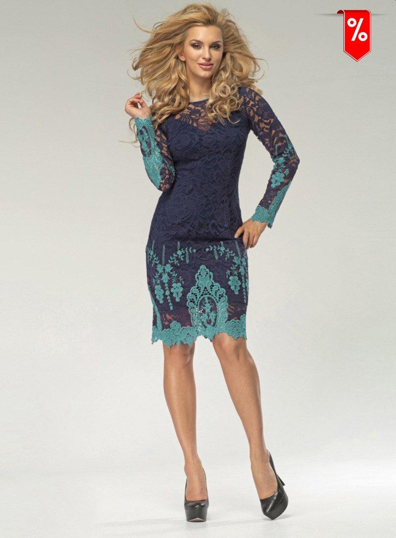 7648b14241 Wizytowa koronkowa sukienka z zielono-turkusowym haftem 005 1412-2 ...