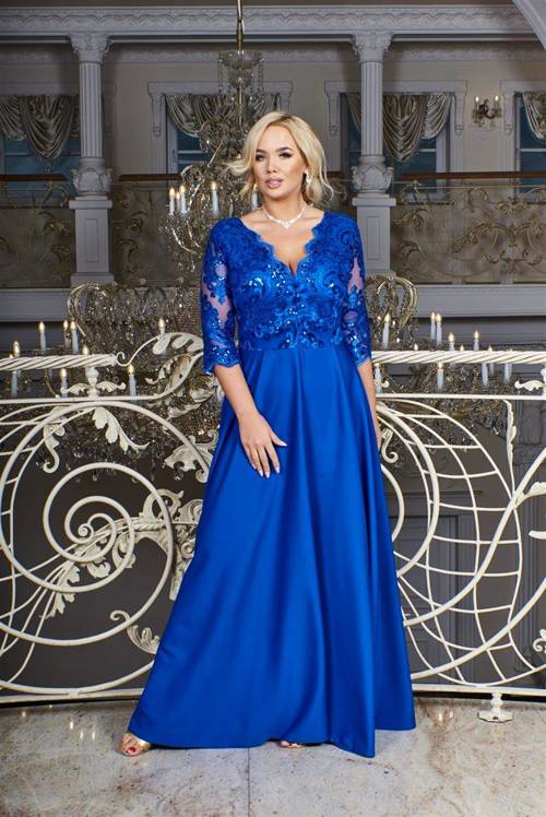 Sukienka maxi Crystal z rękawem 3/4 kolor royal blue marki Bosca Fashion